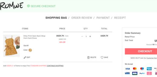 تعديل منتجات روموي Romwe.com في عربة التسوق